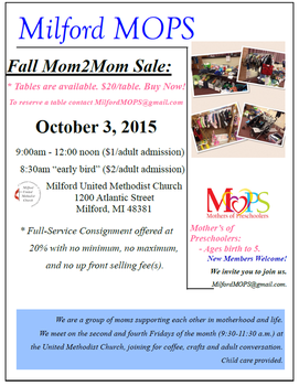Milford MOPS Mom 2 Mom Sale