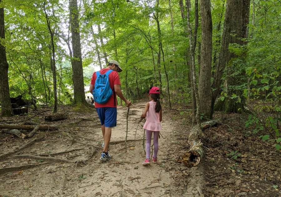 Dad and daughter hiking through woods