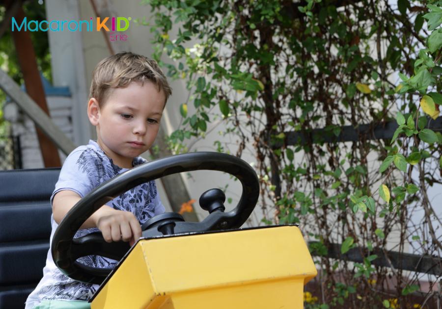 boy on tractor