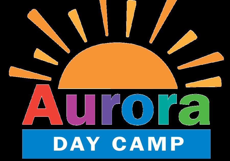 Yellow sun and rainbow text for Aurora Day Camp Atlanta, GA