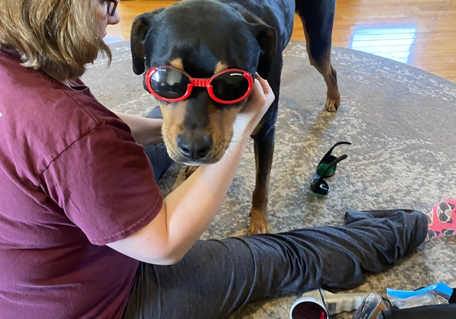 Johnny Cash Wears Doggles for Laser Therapy