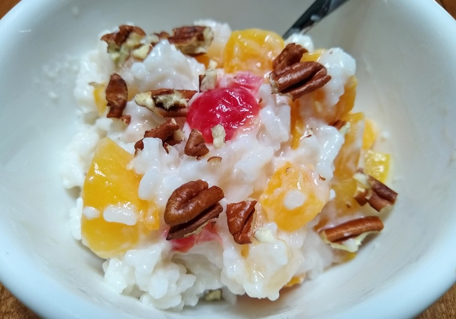 Rice and fruit pudding