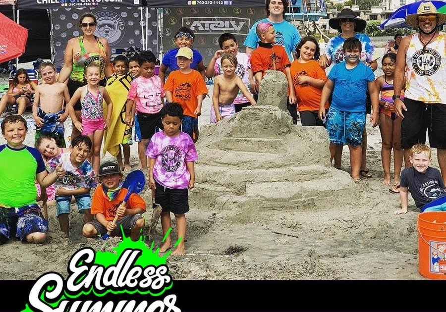 Children and Adults at the beach text in image Endless Summer Youth Day Camp