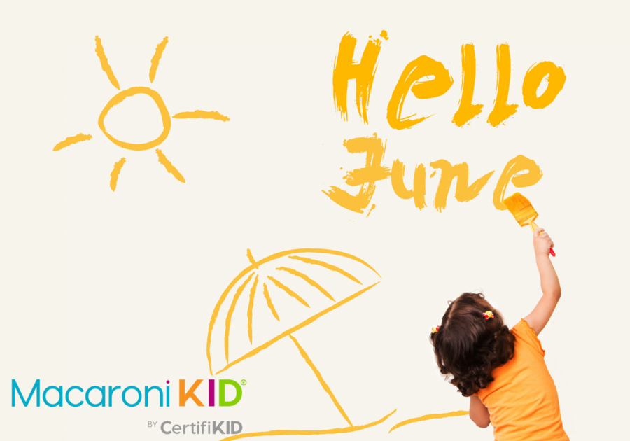 Hello June, little girl writing hello June with hand drawn image of sun and umbrella too.