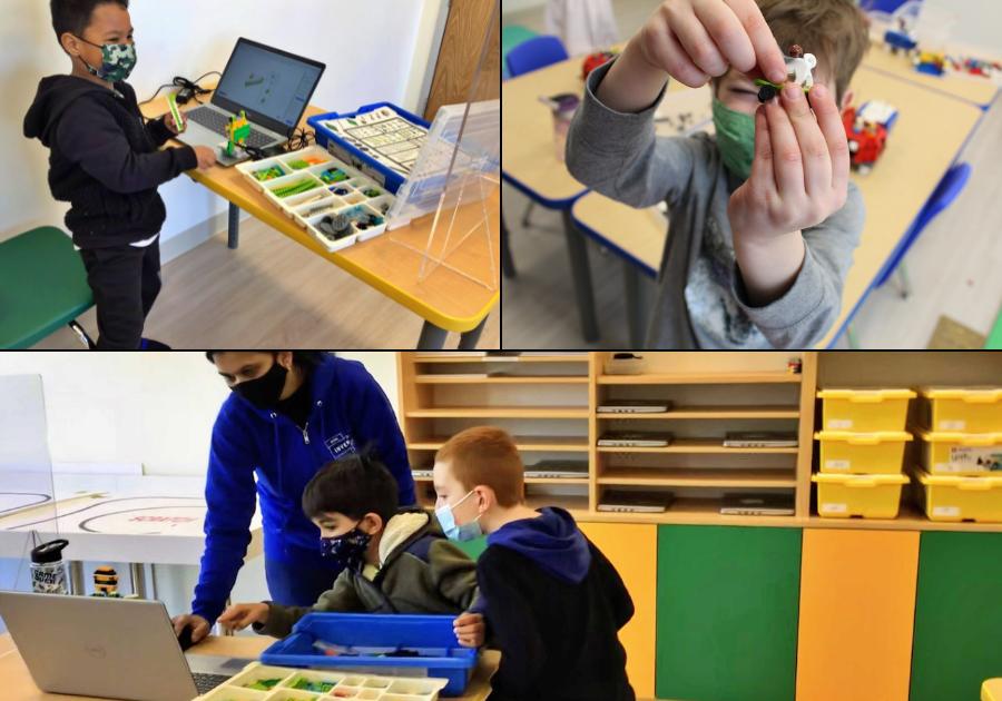 Children working on robotics