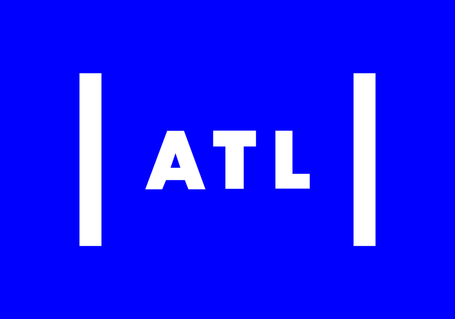 ATL white letters blue background