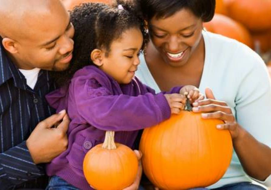 Family with Pumpkins
