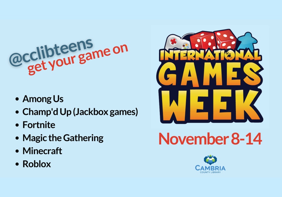Cambria County Library hosting online International Games Week for Teens