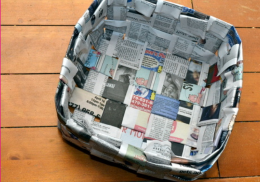 basket made out of recycled newspaper