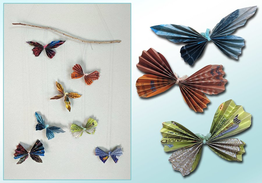 Recycled Magazine Butterflies hanging from a wall