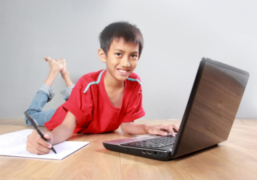 boy learning on computer