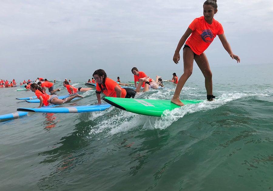Cowabunga Surf Camp 2020 campers surving