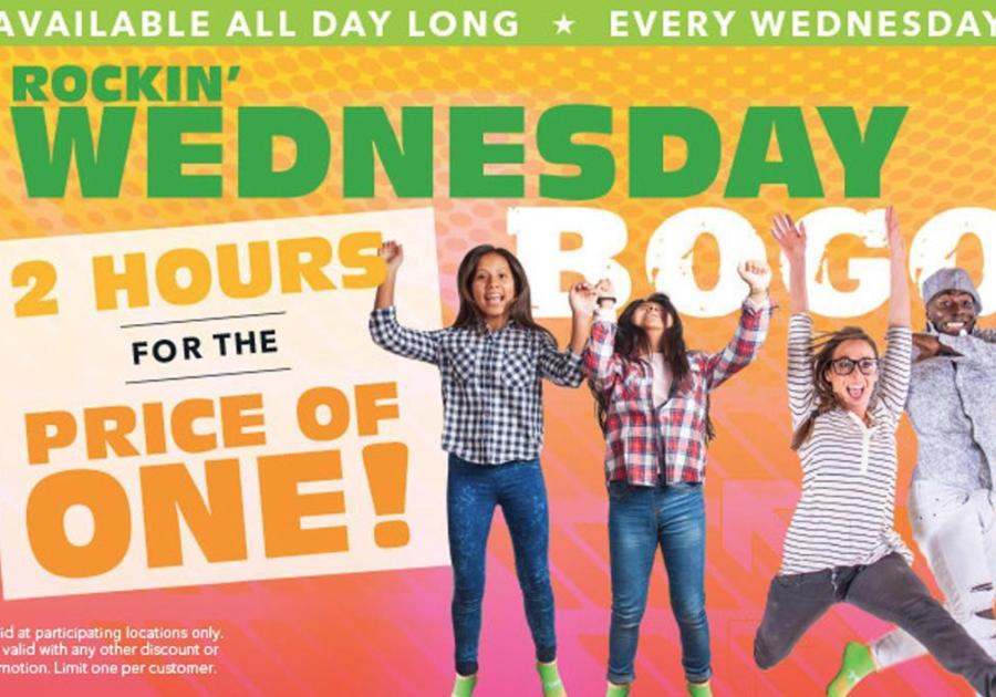 Rockin' Jump Roseville CA Wednesday BOGO 2 hours for the price of 1