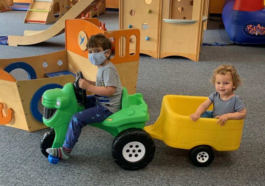 Kids in indoor playspace