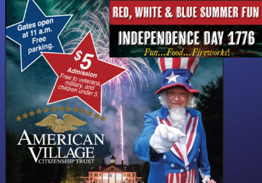Celebrate the 4th of July at American Village in Montevallo with fun, food and fireworks, near Birmingham, Alabama