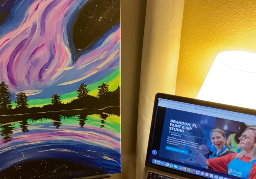image of a painting and website to order your virtual painting class.