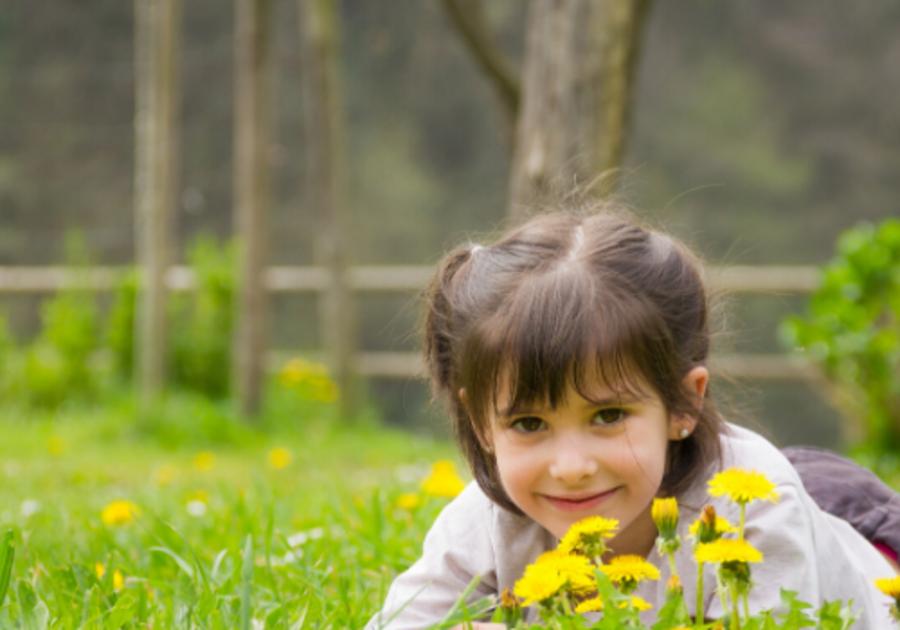 girl in backyard