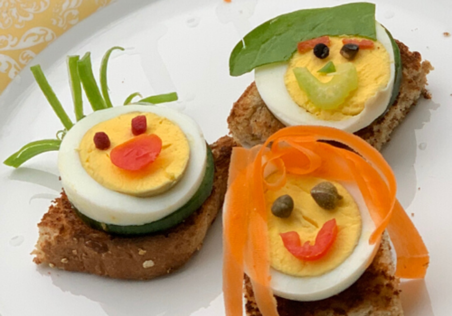 egg snack funny faces craft hard boiled