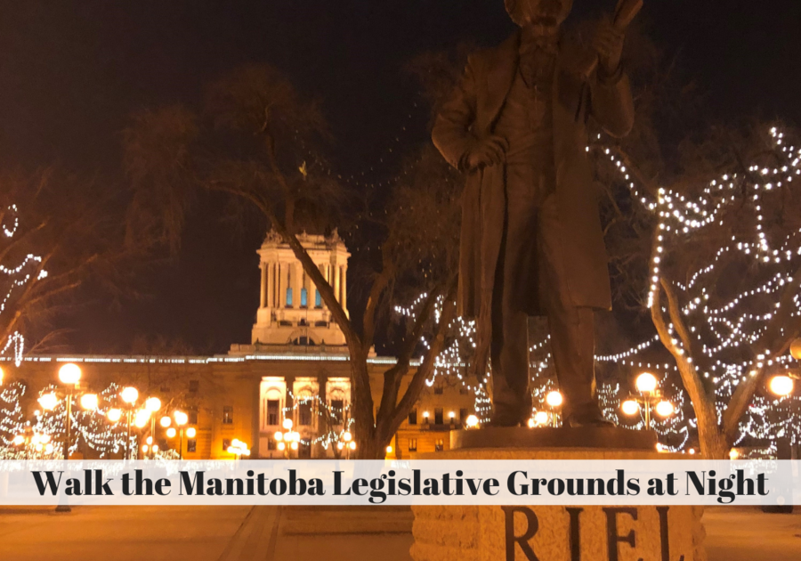 Manitoba Legislative grounds with the statue of Louis Reil in the forground at night. Trees lit up with LED lights