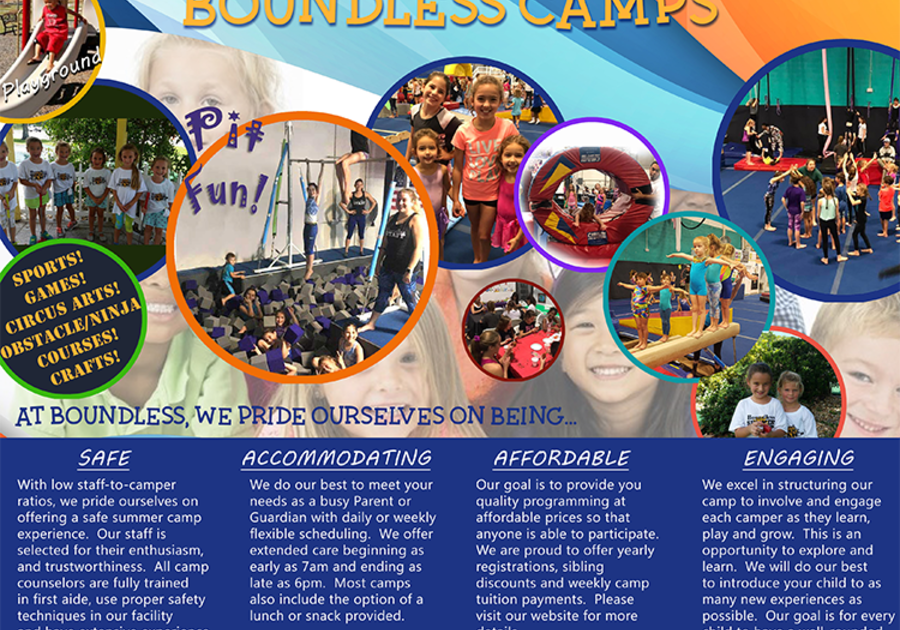 Boundless Gymnastics Camp Flyer