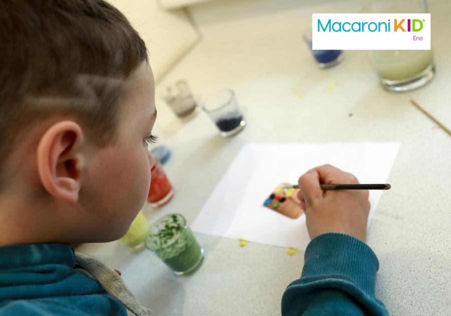 boy doing art