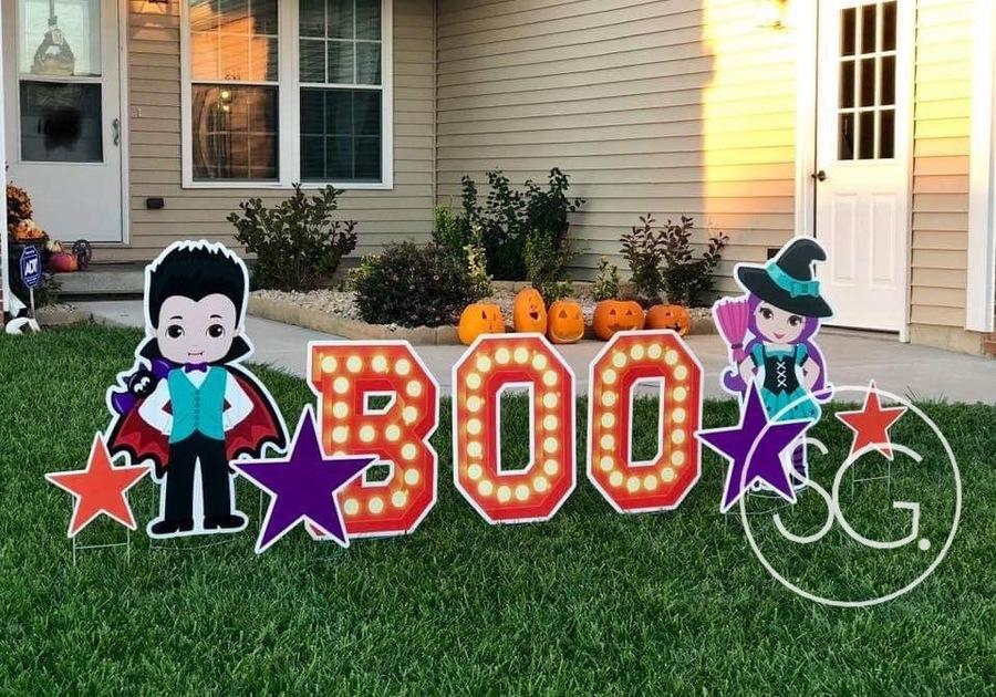 Sign Gypsies Boo Halloween Yard Card Greeting