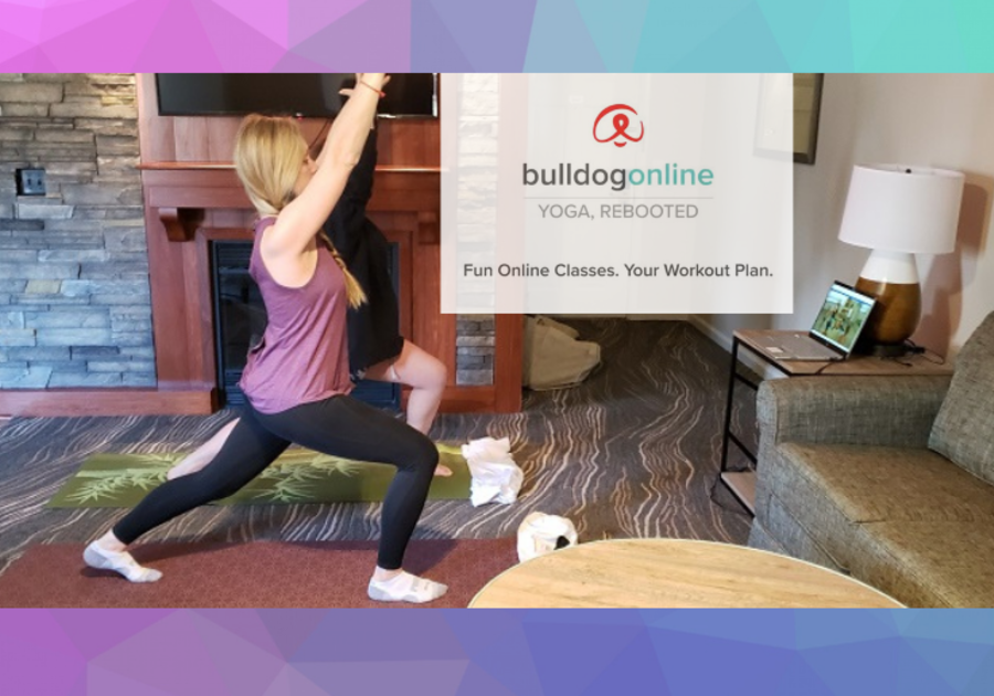 Bulldog Online Yoga offers a free month trial for families for their yoga, rebooted. Woman practices Warrior post.