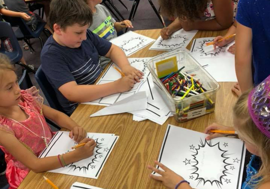 Kids writing