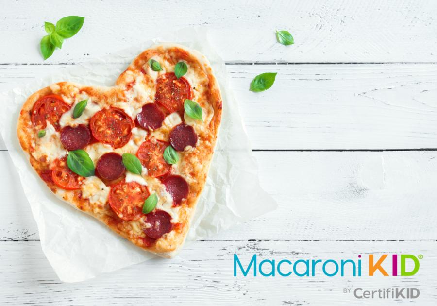 pizza shaped into a heart